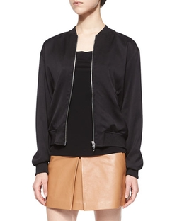 T by Alexander Wang  - Stretch-Silk Twill Bomber Jacket