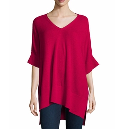 Neiman Marcus Cashmere Collection - Short-Sleeve Cashmere Tunic Top