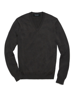 Brooks Brothers - Cotton Solid V-Neck Sweater