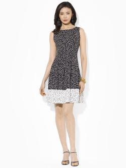 Lauren Petite - Pleated Dot Sleeveless Dress