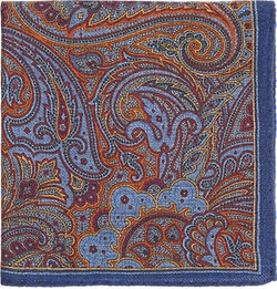 Barneys New York  - Paisley-Print Wool Pocket Square