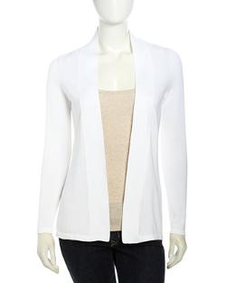 Neiman Marcus  - Woven Mesh-Knit Contrast Cardigan