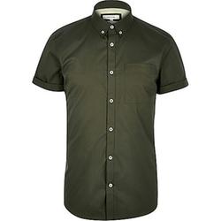River Island - Green Twill Short Sleeve Shirt