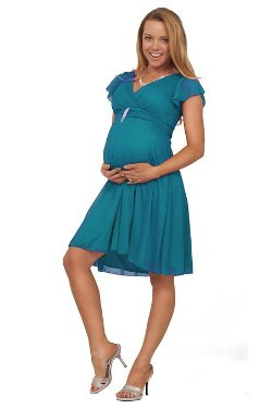 Hot from Hollywood  - Maternity V Neck Empire Waist Dress