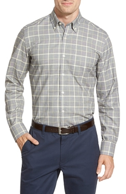 O By Oscar De La Renta  - Tailored Fit Windowpane Plaid Sport Shirt