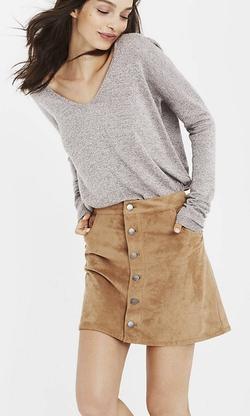 Express - Marled V-Neck Wedge Tunic Sweater
