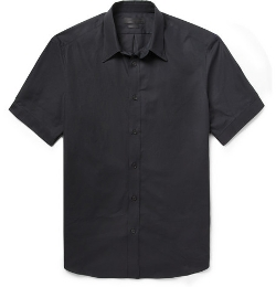 Alexander Mcqueen - Black Slim-Fit Short-Sleeved Cotton Shirt