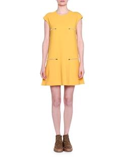Stella McCartney - Cap-Sleeve Zip-Detail Shift Dress