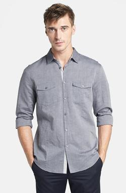 JOHN VARVATOS COLLECTION  - Slim Fit Cotton & Linen Military Shirt