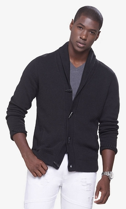 Express - Stitch Shawl Collar Toggle Cardigan