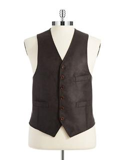 Black Brown  - Faux Leather Vest
