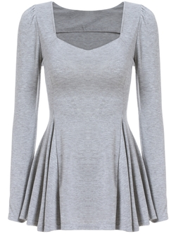 ROMWE - Square Neck Peplum Hem Grey T-Shirt
