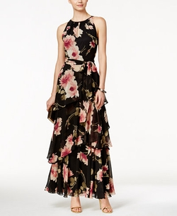 Tahari ASL  - Tiered Floral-Print Halter Dress