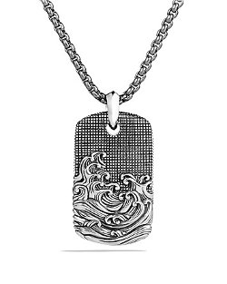 David Yurman  - Waves Tag On Chain Necklace