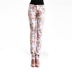 Zeagoo - Fashion Floral Printing Slim Stretch Pencil Fit Pants