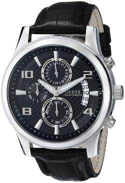 Guess - Leather Strap Chronograph Watch