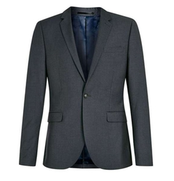 Topman - Grey Skinny Fit Suit Jacket