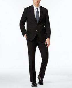 Kenneth Cole Reaction - Slim-Fit Black Tonal-Stripe Suit