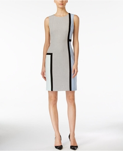 Calvin Klein - Sleeveless Colorblocked Sheath Dress