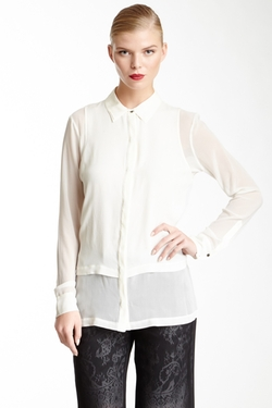 Robert Rodriguez  - Sheer Double Layer Silk Ivory Blouse