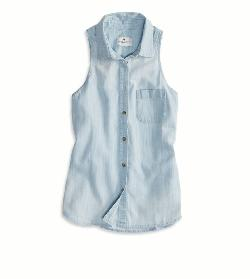 AE  - SLEEVELESS CHAMBRAY SHIRT