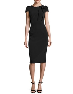 David Meister  - Cap-Sleeve Crepe Satin-Trim Sheath Dress