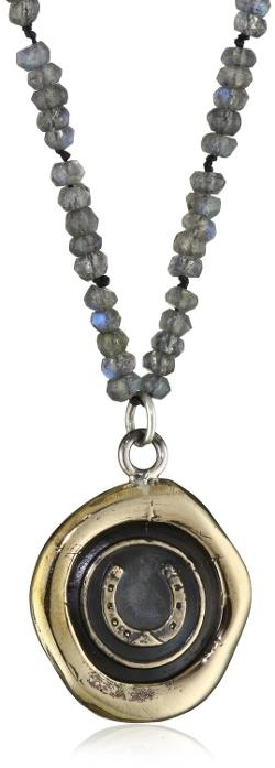 Pyrrha - Talisman Bronze Horseshoe on Laboradorite Lumen Pendant Necklace