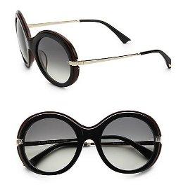Nina Ricci  - Oversized Round Colorblock Plastic Sunglasses