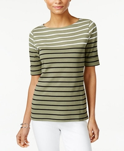 Karen Scott  - Boat-Neck Striped Top
