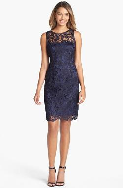 Adrianna Papell - Illusion Bodice Lace Sheath Dress