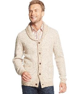 Tasso Elba - Shawl Collar Two Color Marled Lambswool-Blend Cardigan Sweater