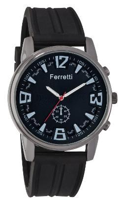 Ferretti - Black Rubber Band and Gunmetal Case Watch