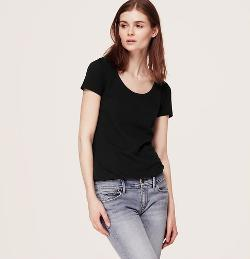 Loft - Petite Sunwashed Scoop Neck Tee
