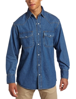 Key Apparel - Washed Western Snap Denim Shirt