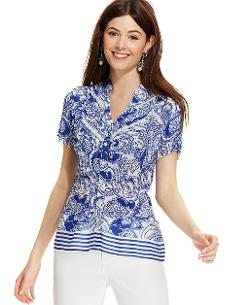 NY Collection - Printed Pleated Lace-Trim Blouse