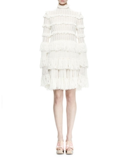 Alexander Mcqueen - Long-Sleeve Tiered-Lace Ruffle Dress, Ivory
