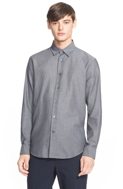 John Varvatos Collection  - Slim Fit Textured Cotton Sport Shirt