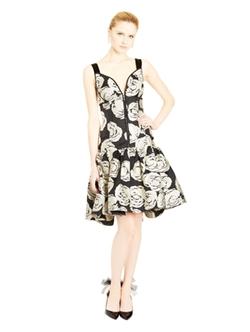 Oscar de la Renta - Graphic Rose Cocktail Dress