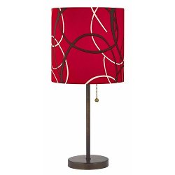 Design Classics Lighting - Red Pattern Drum Shade