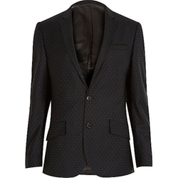 River Island - Black Polka Dot Wool Slim Tux Jacket