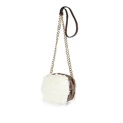 River Island - Cream Faux Fur Box Cross Body Handbag