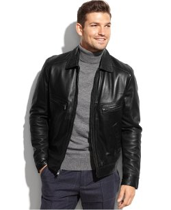 Michael Michael Kors  - Welby Shirt-Collar Leather Jacket