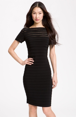 Adrianna Papell  - Illusion Bodice Pleated Jersey Sheath Dress