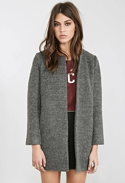 Forever21 - Collarless Bouclé Coat