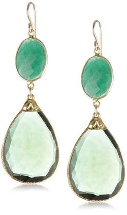 Devon Leigh  - Hydro Quartz Emerald Drop Earrings