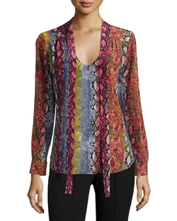 Ella Moss - Long-Sleeve Snake-Print Blouse