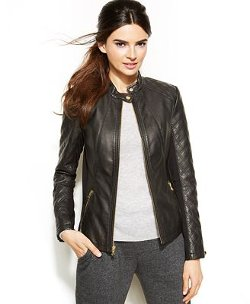 INC International Concepts  - Quilted Faux-Leather Moto Jacket