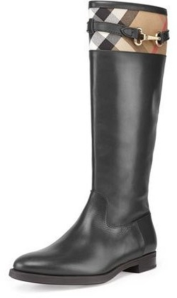 Burberry - Check-Top Leather Knee Boots