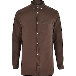 River Island - Brown Long Sleeve Oxford Shirt