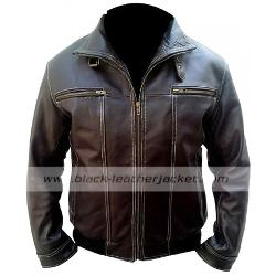 Black Leather Jacket - A Good Day To Die Hard 5 Bruce Willis Leather Jacket